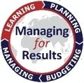 logo for managing for results with text in center and ring of quarter rocker titles including managing, learning, planning and budgeting with learning highlighted [State Department Image] 3/27/2017