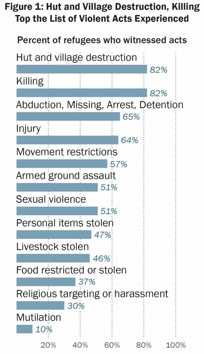 Date: 09/20/2018 Description: Figure 1: Hut and Village Destruction, Killing Top the List of Violent Acts Experienced; Percent of refugees who witnessed acts. - State Dept Image