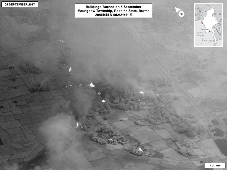 Date: 09/20/2018 Description: Image 2: Buildings Burned on 5 September, Maungdaw Township, Rakhine State, Burma20:54:44 N 092:21:11 E - State Dept Image