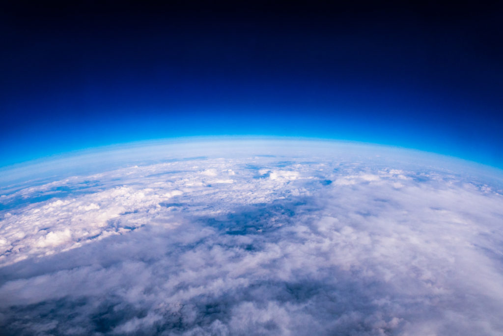 Amazing view of edge of earth and atmosphere layer - Image