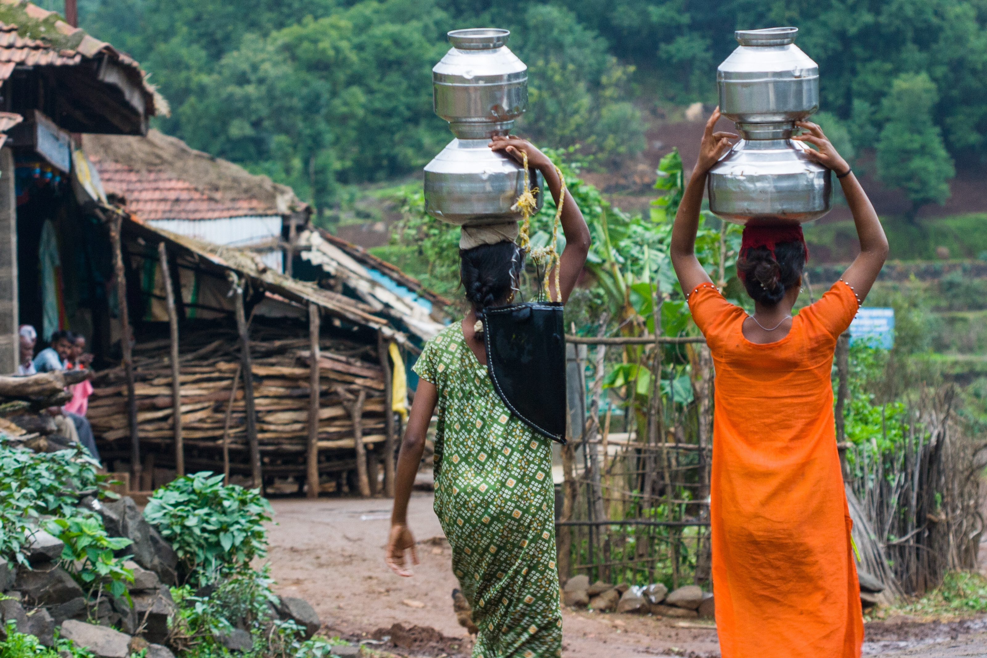Villagers carry water in a remote part of India - Image
