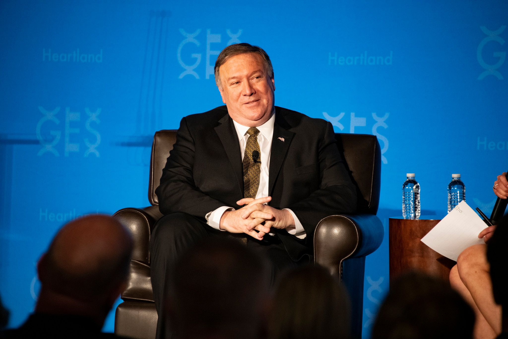 U.S. Secretary of State Michael R. Pompeo delivers the keynote address at the 'Road to GES', hosted by the U.S. Department of State in Overland Park, Kansas on March 18, 2019. [State Department photo by Ron Przysucha/ Public Domain]