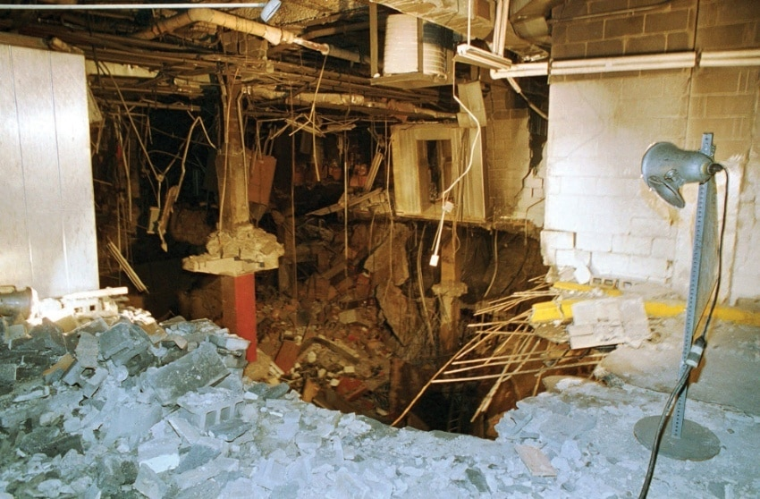 Damage created by the February 1993 bombing of the World Trade Center in New York City. DSS was called to assist the New York Police Department and the FBI in the investigation, and helped to identify the Middle Eastern radical responsible for the attack. Although Osama bin Laden and Al-Qaeda had ties to the bombing, the connections would not become clear until 1996. Source: © Associated Press / Richard Drew.