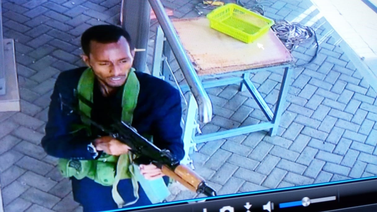 Security camera video shows one of the attackers armed with an automatic rifle and wearing a vest loaded with grenades and ammunition as he entered the DusitD2 Hotel complex, January 25, 2019, Nairobi. (Photo courtesy of DusitD2 Hotel)