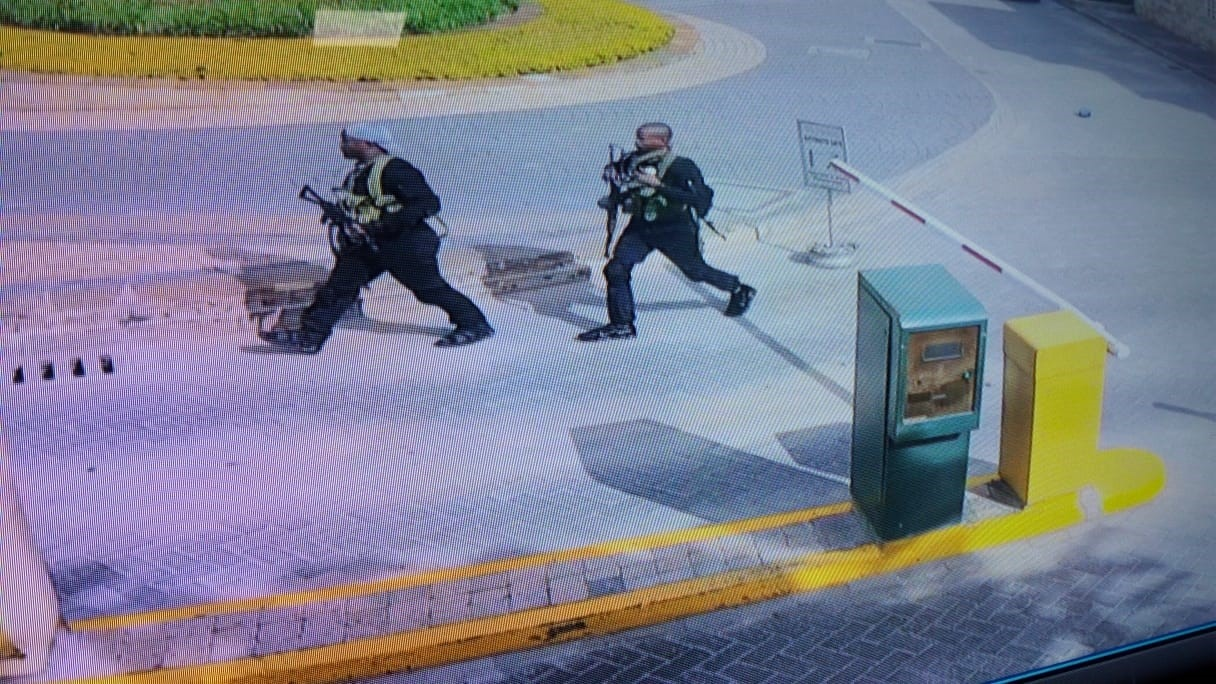 Security camera video shows two of the al-Shabaab terrorists entering the parking area of the hotel complex, January 25, 2019, Nairobi. (Photo courtesy of DusitD2 Hotel)