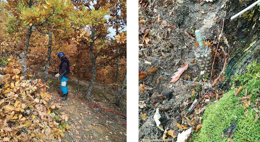 Date: 2019 Description: Left photo: A deminer at work in Bujonovac-Lucane, Serbia; Right photo: A tripwire-activated fragmentation mine excavated in Serbia. © Photos courtesy of ITF
