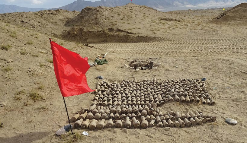 Date: 2019 Description: Uncovering abandoned munitions caches is all in a day's work for HALO's weapons and ammunition destruction teams in Parwan Province, Afghanistan. © Photo courtesy of ITF