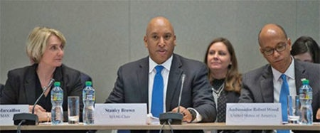 Date: 2019 Description: PM/WRA Director and MASG Chair Stan Brown opens the MASG meeting in February 2019 in Geneva, Switzerland. © Photo courtesy of MASG.
