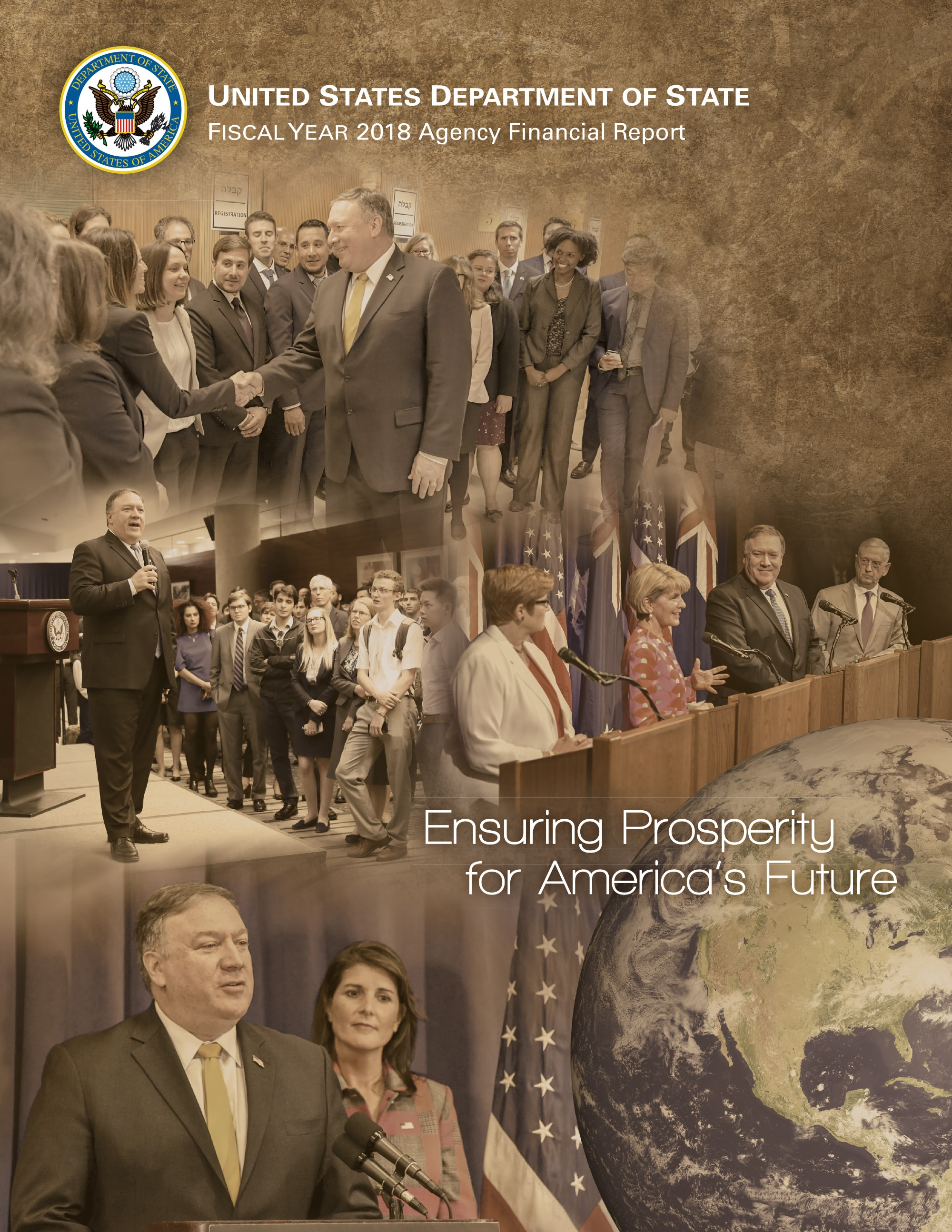 Photo showing the U.S. Department of State Fiscal Year 2018 Agency Financial Report cover.