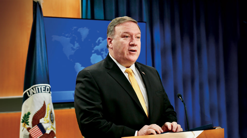Photo showing Secretary Pompeo delivering remarks on the release of the 2017 International Religious Freedom Report in Washington, D.C., May 29, 2018. [Department of State]