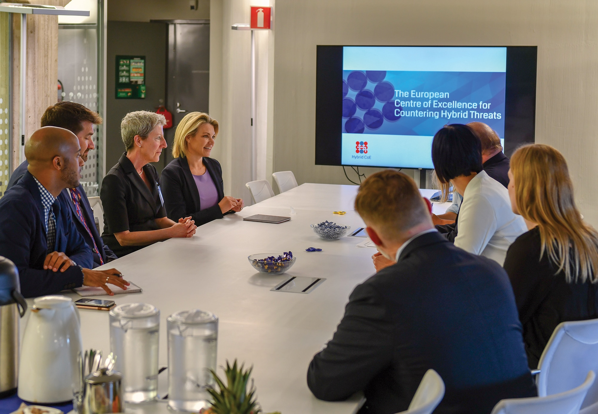 Photo showing Acting Under Secretary for Public Diplomacy and Public Affairs Heather Nauert visiting the European Centre of Excellence for Countering Hybrid Threats in Helsinki, Finland, July 16, 2018. [Department of State]