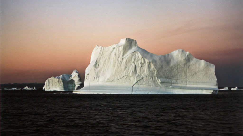 "Photo showing Art Bank work ""Iceberg in the Evening III, East Greenland, August 27, 2006"" (2017), Camille Seaman, pigment print on paper."