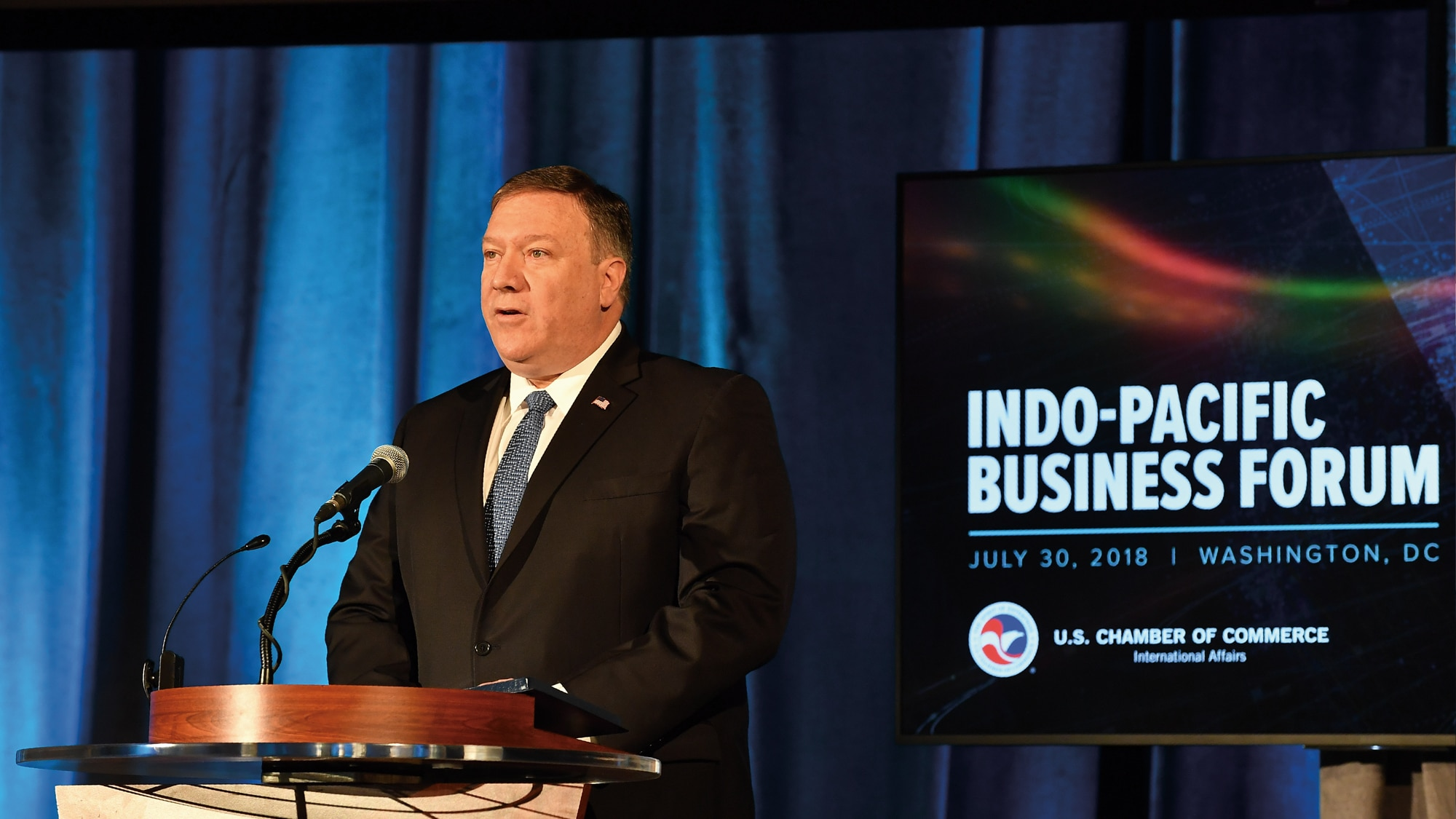 Photo showing Secretary Pompeo delivering the keynote address at the Inaugural Indo-Pacific Business Forum at the U.S. Chamber of Commerce in Washington, D.C., July 30, 2018. [Department of State]