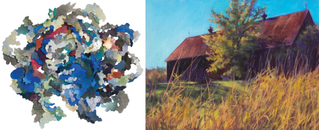 "Photo showing Art Bank works including ""System III Colin: Produced Rough Seas Along the East"" (2016), Julie Ann Greenberg, mixed media (left) and ""Bright Grasses Autumn Barn"" (2017), Mary Pritchard, pastel on paper (right)."