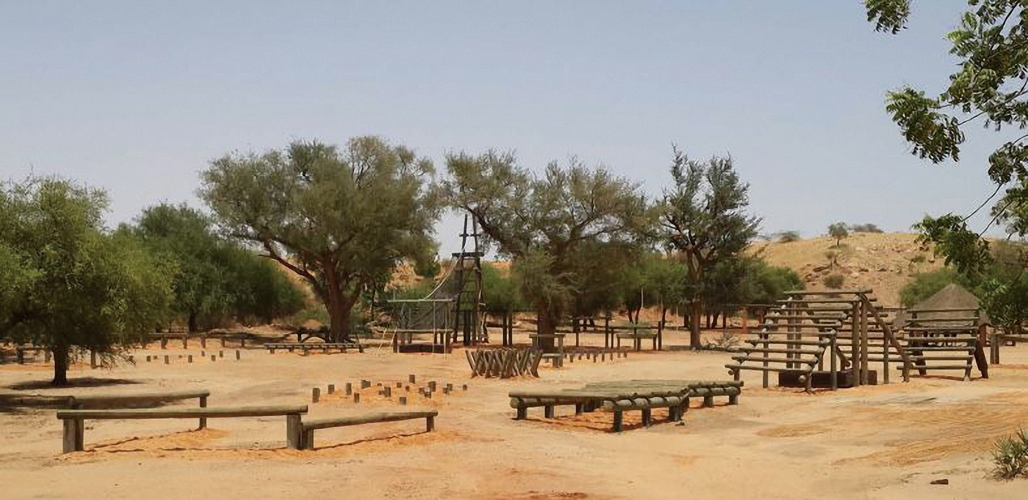 Photo showing a basic training obstacle course to enhance skillsets of new recruits located in Tondibiah, Niger. [Department of State]