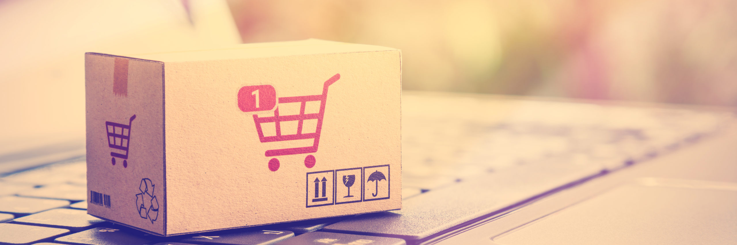 Online shopping / retail ecommerce and delivery service concept : Box with 1 item in a shopping cart sign on a laptop, depicts consumers purchase or order products from suppliers or digital stores. - Image