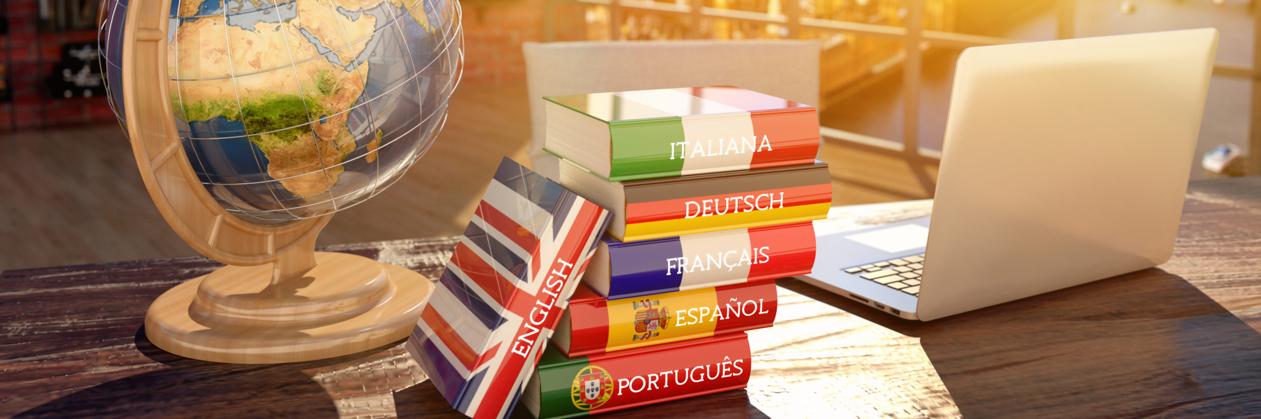 Languages learning and translate, communication and travel concept, books with covers in colors of flags of Europe countries, laptop and globe on a table in a modern interior, 3d illustration - Illustration