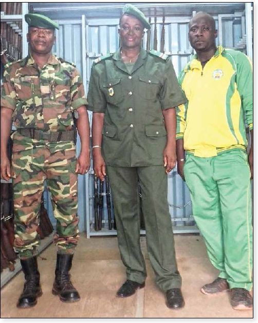 Date: 2018 Description: Lieutenant-Colonel Isabelle Ouedraogo (center) is the Director of Logistics for the Burkina Faso Water & Forestry Services. © Photo courtesy of MAG