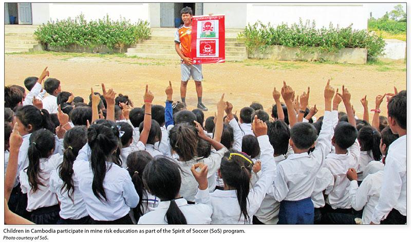 Date: 2017 Description: Children in Cambodia participate in mine risk education as part of the Spirit of Soccer (SoS) program. © Photo courtesy of SoS.