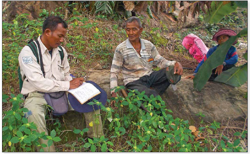 Date: 2018 Description: HALO interviews Cambodian villagers during a non-technical survey. © Photo courtesy of HALO
