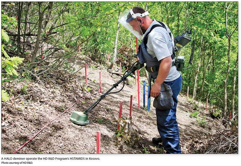 Date: 2017 Description: A HALO deminer operate the HD R&D Program's HSTAMIDS in Kosovo. © Photo courtesy of HD R&D.