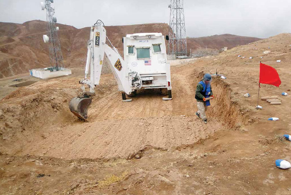Date: 2018 Description: With PM/WRA funding, HALO conducts mechanical clearance near communication towers in Samangan Province, Afghanistan. © Photo courtesy of HALO