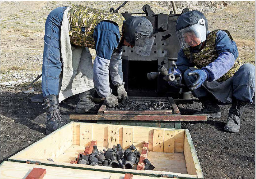 Date: 2018 Description: With funding from PM/WRA, military ammunition handlers in the Kyrgyz Republic safely destroy unstable and expired ammunition. © Photo courtesy of ITF