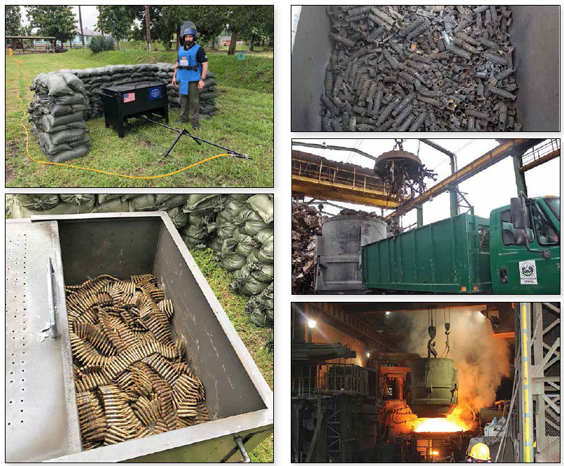 Date: 2018 Description: Five photos depicting various stages of the incineration of surplus military ammunition by El Salvador's military with HALO technical assistance and funded by PM/WRA. © Photos courtesy of HALO
