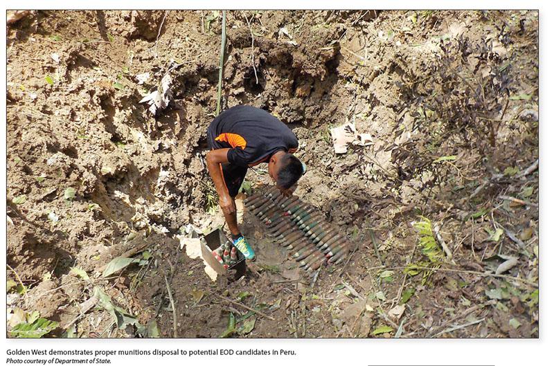 Date: 2017 Description: Golden West demonstrates proper munitions disposal to potential EOD candidates in Peru. - State Dept Image