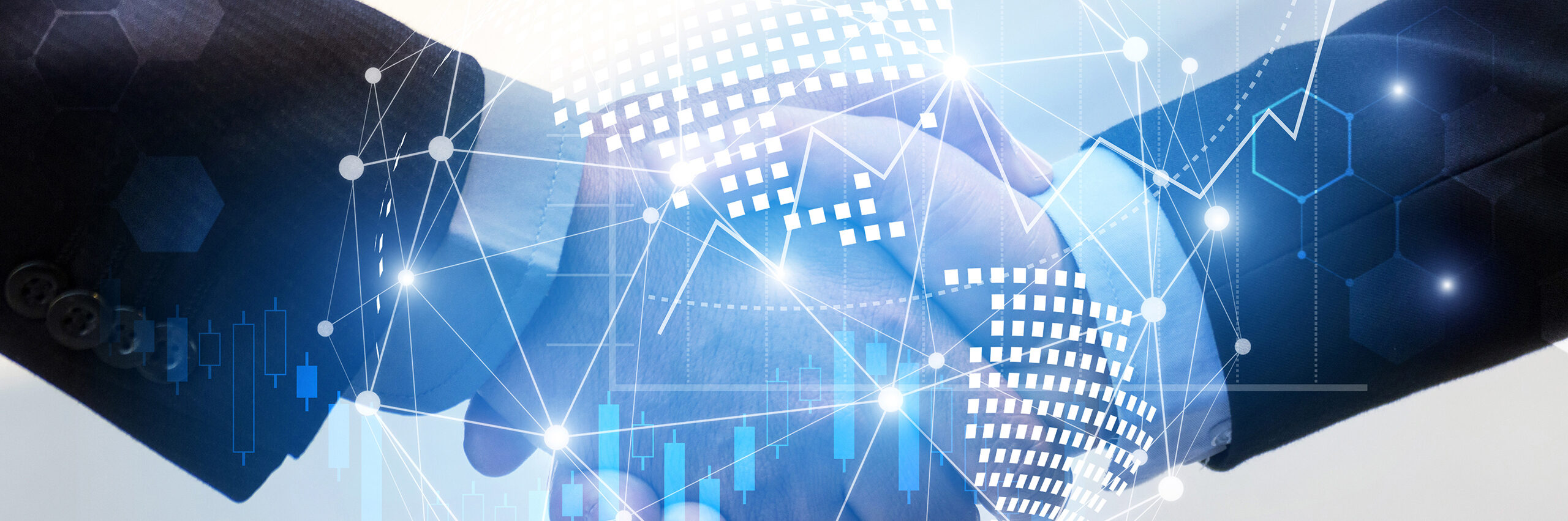 Business man handshake with effect global world map network link connection and graph chart of stock market graphic diagram, digital technology, internet communication, teamwork, partnership concept. [Shutterstock image]