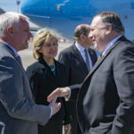 U.S. Secretary of State Michael R. Pompeo is greeted by NATO Ambassador Kay Bailey Hutchison, Ambassadors from U.S. Mission Brussels in Brussels, Belgium on May 13, 2019. [State Department photo by Ron Przysucha/ Public Domain]