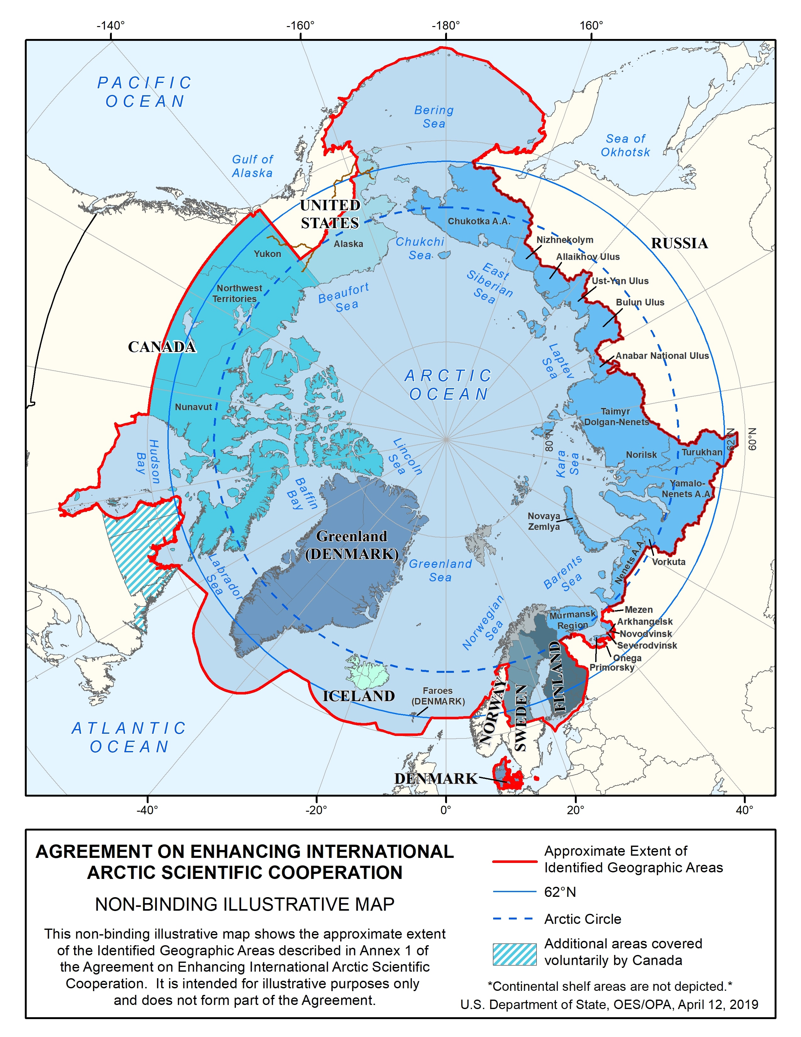 "This map depicts the areas covered under the ""Agreement on Enhancing International Arctic Scientific Cooperation"" and the map appears right above the section titled ""Arctic Science Agreement (2017)"""