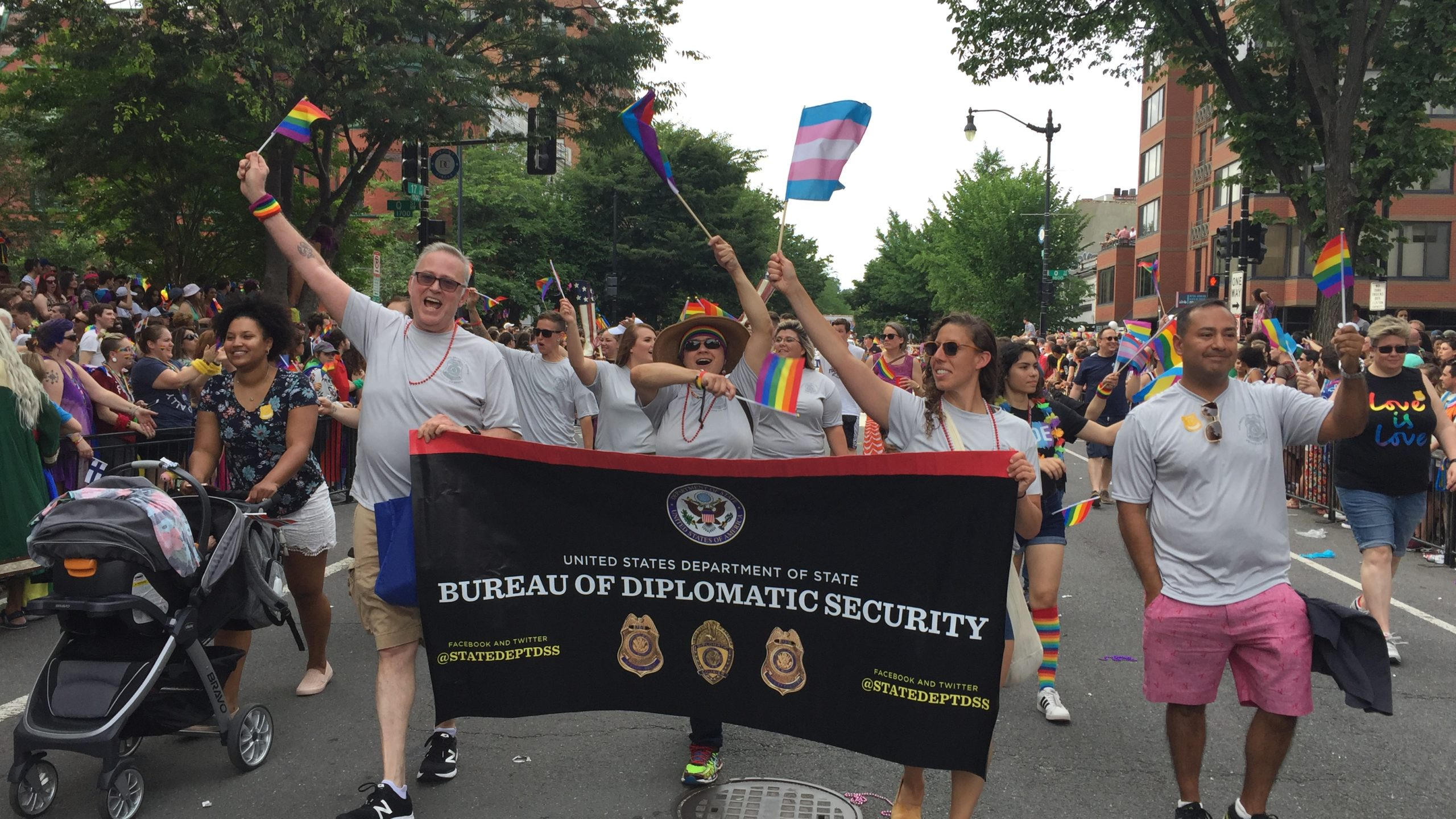 DSS personnel, friends and family members march during the 2019 Capital Pride Parade in Washington, D.C., on June 8, 2019. (U.S. Department of State photo)