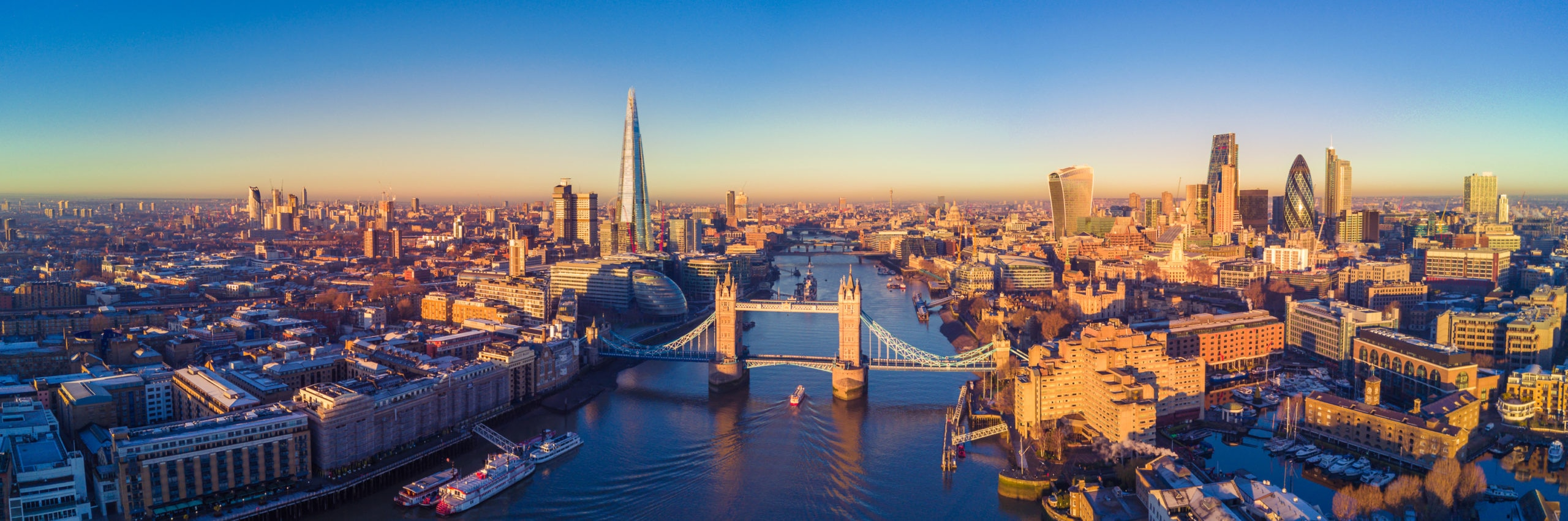 Aerial panoramic cityscape view of London and the River Thames, England, United Kingdom - Image