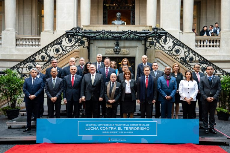 U.S. Secretary of State Michael R. Pompeo poses for a family photo at the Western Hemisphere Counterterrorism Ministerial in Buenos Aires, Argentina on July 19, 2019.