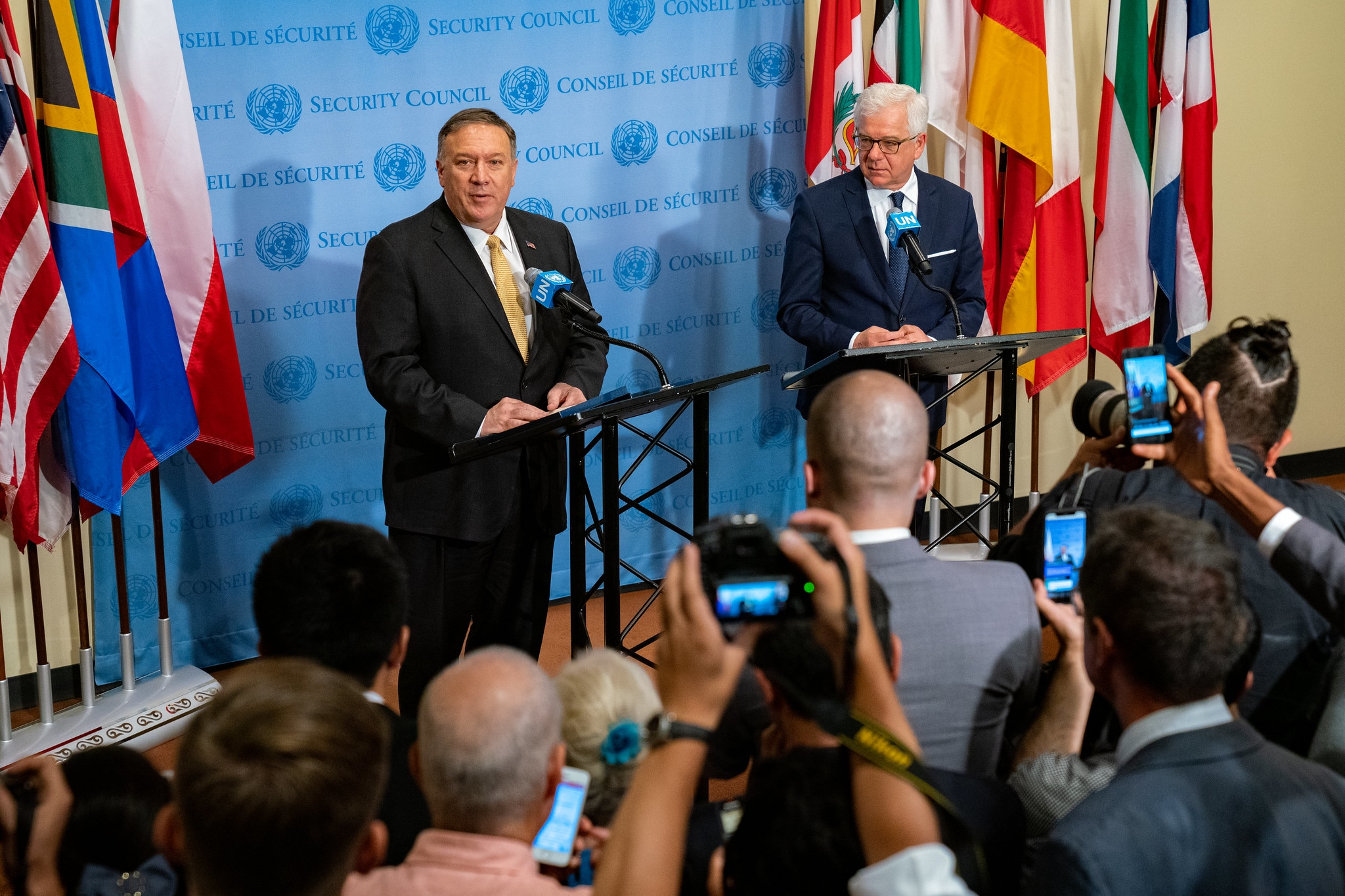 Secretary Pompeo holds a joint press availability with Polish Foreign Minister Jacek Czaputowicz, in New York City, New York, August 20, 2019. [State Department photo by Ron Przysucha/ Public Domain]