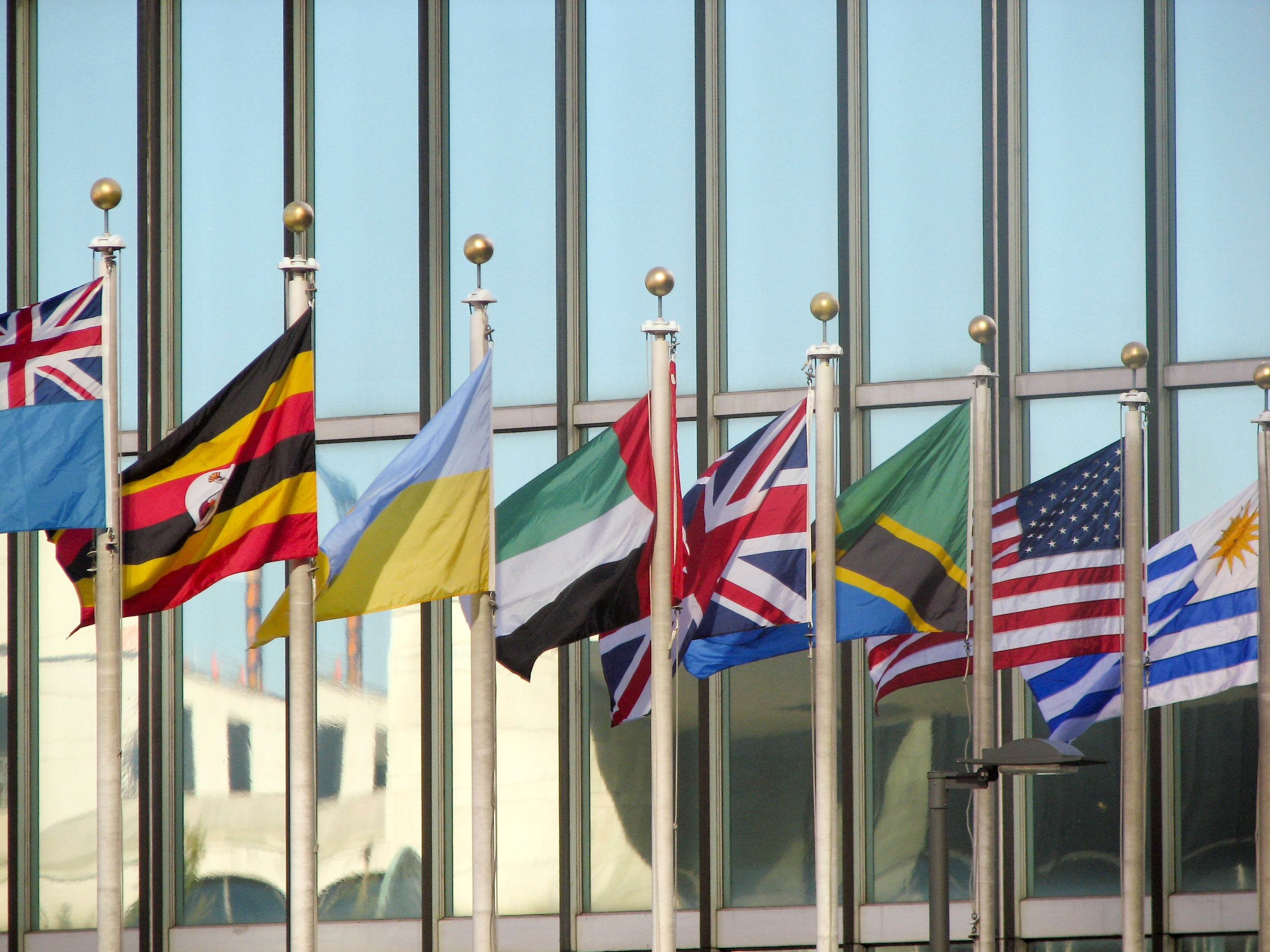 Flags in front of UN Headquarters in New York. USAID photo