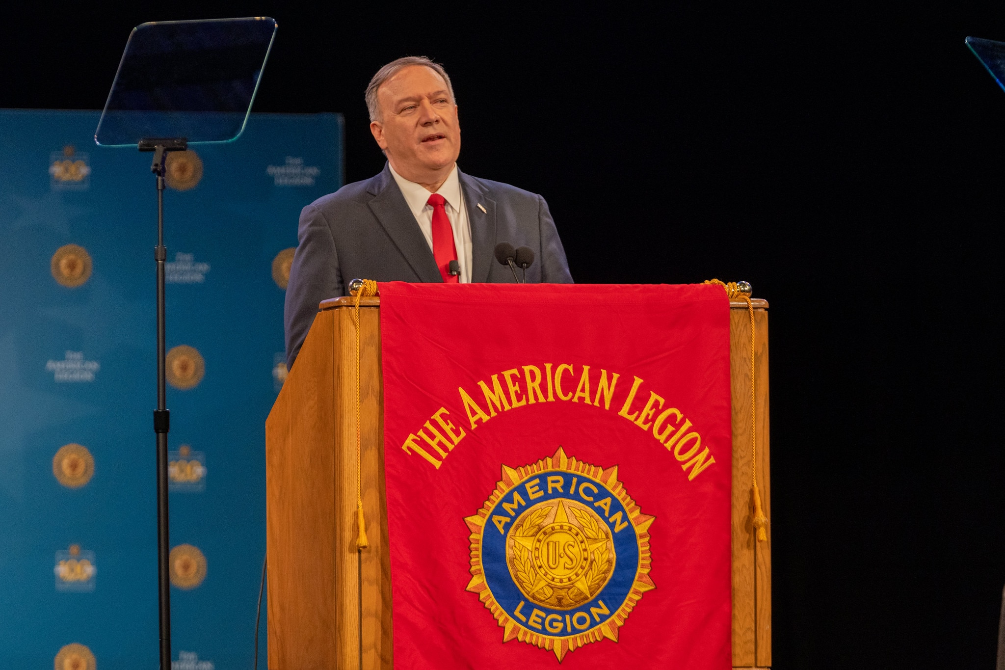U.S. Secretary of State Michael R. Pompeo delivers remarks on 'Celebrating Americanism in Our Foreign Policy' at the 101st National Convention of the American Legion, in Indianapolis, Indiana on August 27, 2019. [State Department photo by Ron Przysucha/ Public Domain]