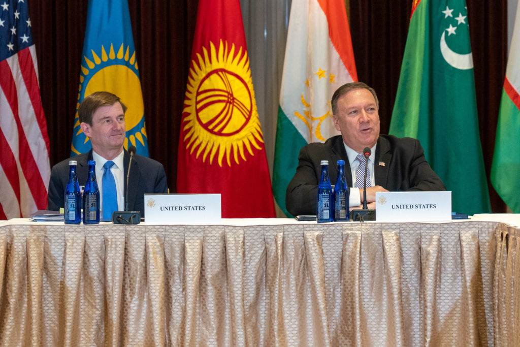U.S. Secretary of State Michael R. Pompeo and Under Secretary of State David Hale meet with Central Asian (C5) Foreign Ministers on the margins of the 74th Session of the United Nations General Assembly in New York, New York, September 22, 2019. [State Department photo by Ron Przysucha/ Public Domain]