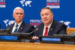 U.S. Secretary of State Michael R. Pompeo at the United Nations Event on Religious Freedom in New York, New York on September 23, 2019. [State Department photo by Ron Przysucha/ Public Domain]