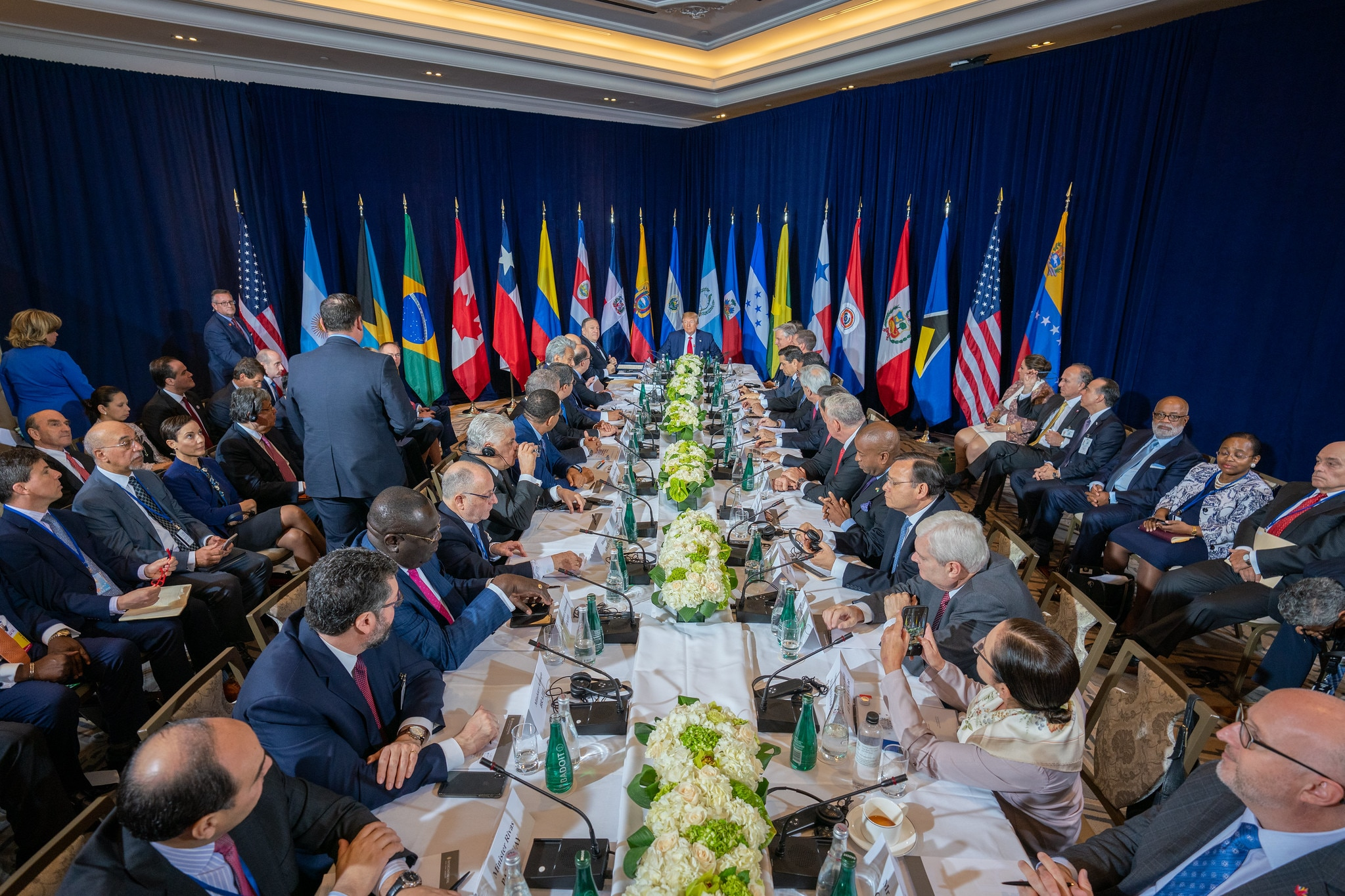 U.S. Secretary of State Michael R. Pompeo participates in meeting on Venezuela hosted by President Donald J. Trump in New York City, New York on September 25, 2019. [State Department photo by Ron Przysucha/ Public Domain]