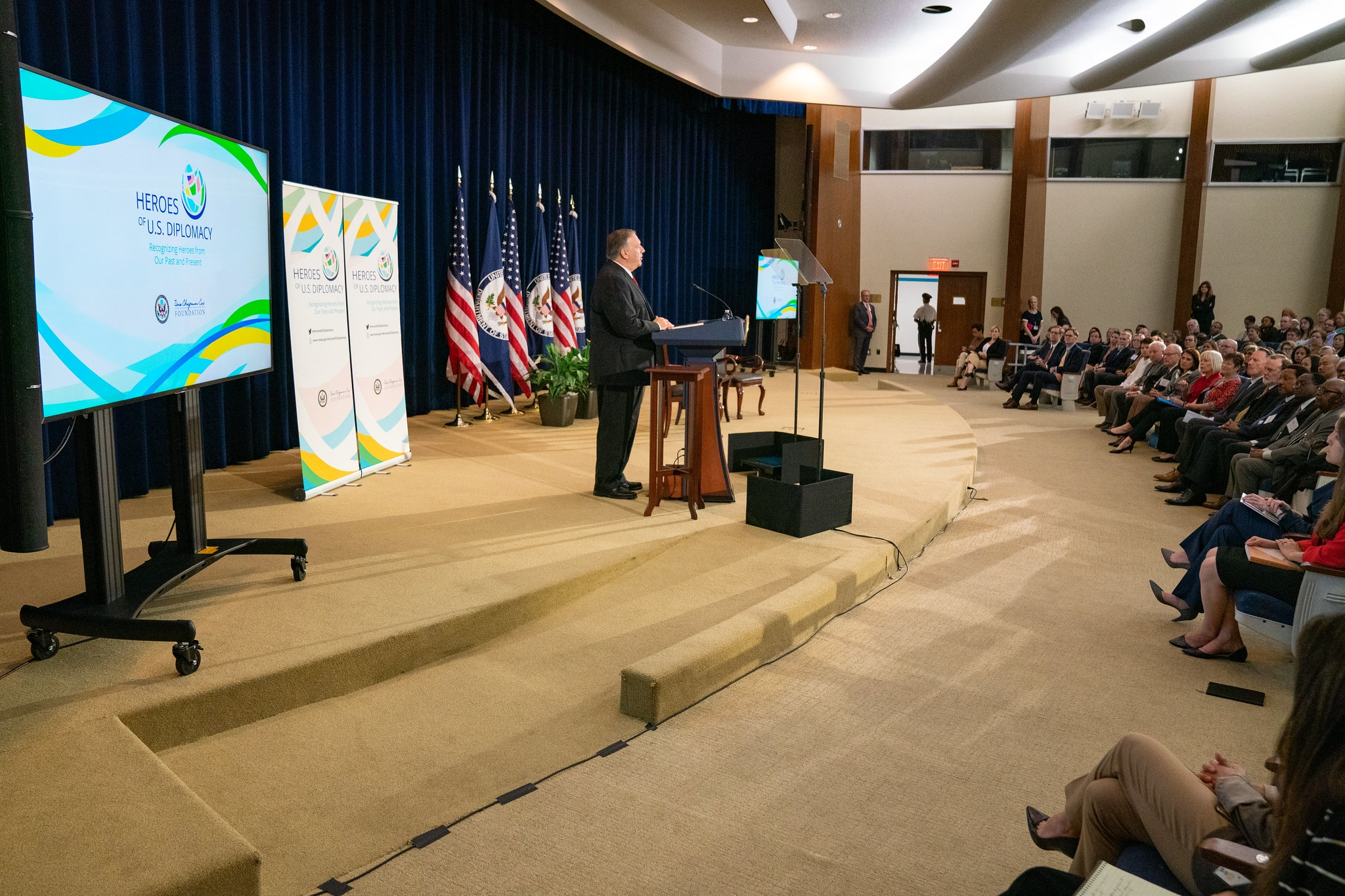 U.S. Secretary of State Michael R. Pompeo introduces the inaugural selectee of the Heroes of U.S. Diplomacy initiative at the launch event at the U.S. Department of State on September 13, 2019.