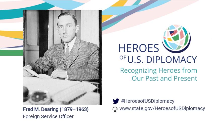 Photo of Fred Dearing on Heroes of U.S. Diplomacy branding.