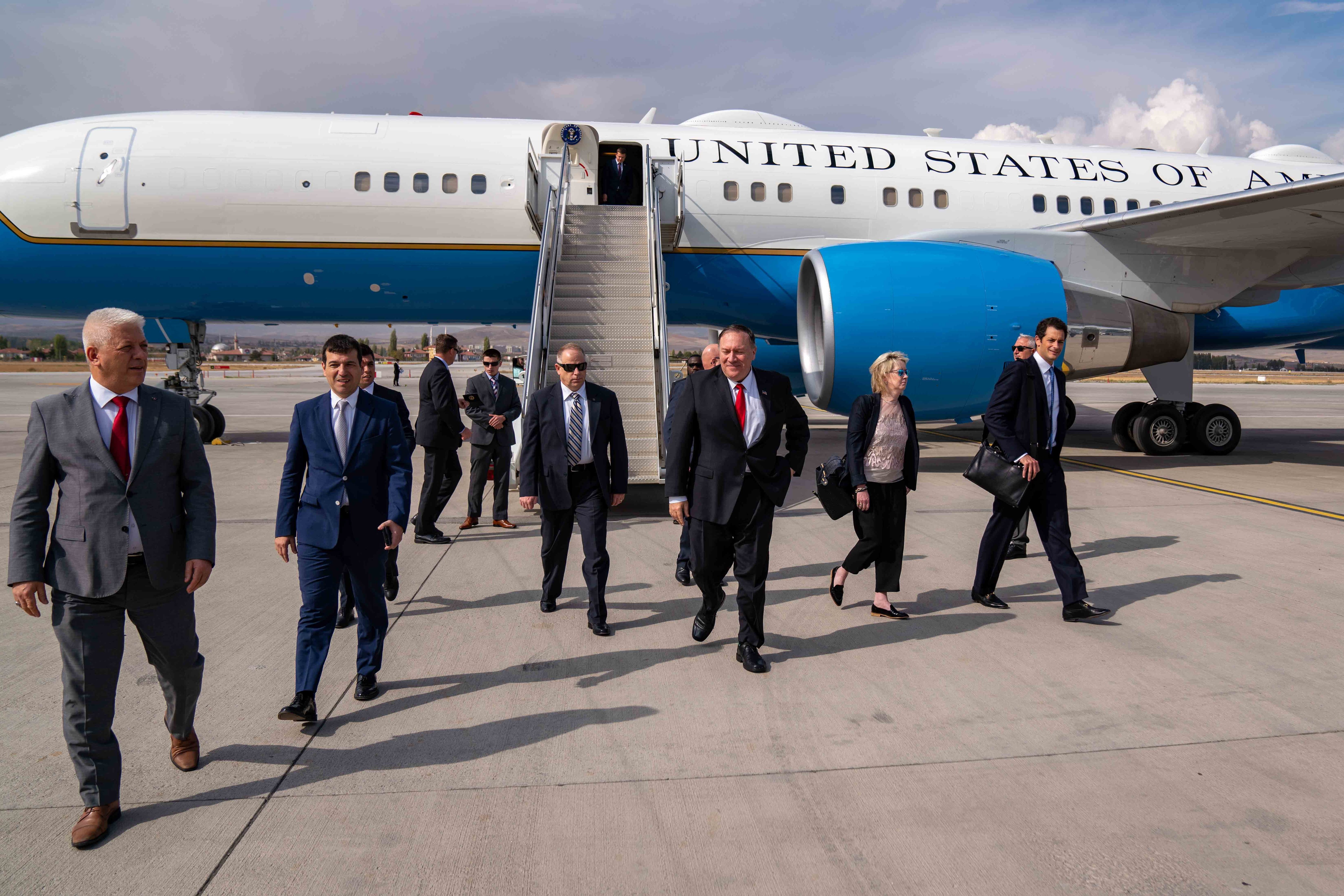U.S. Secretary of State Michael R. Pompeo arrives in Ankara, Turkey, on October 17, 2019. [State Department Photo by Ron Przysucha/ Public Domain]