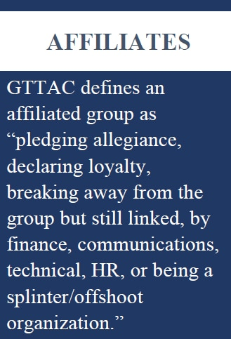 """GTTAC defines an """"affiliated group"""" as pledging allegiance, declaring loyalty, breaking away from the group but still linked, by finance, communications, technical, HR, or being a splinter/offshoot organization."""" AFFILIATES GTTAC defines an affiliated group as """"pledging allegiance, declaring loyalty, breaking away from the group but still linked, by finance, communications, technical, HR, or being a splinter/offshoot organization."""""""
