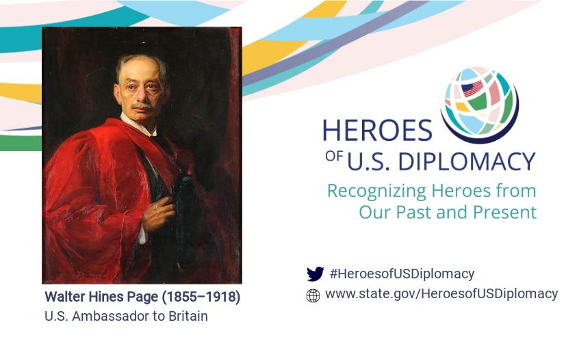 Portrait of Walter Hines Page on Heroes of U.S. Diplomacy branding.