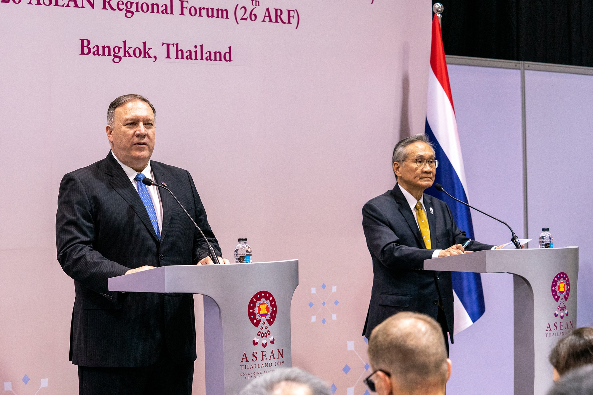 U.S. Secretary of State Michael R. Pompeo participates in a joint press availability with Thai Foreign Minister Don Pramudwinai at the start of the ASEAN Foreign Ministerial Meetings inside the Centara Grand Media Center in Bangkok, Thailand on August 1, 2019. (U.S. Department of State photo)