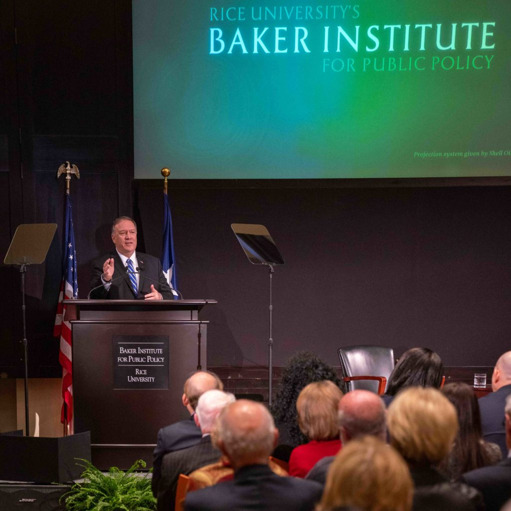 "Secretary of State Michael R. Pompeo delivers a speech on ""In Tribute to Human Freedom"" at Rice University's Baker Institute for Public Policy, in Houston, Texas on November 15, 2019. [State Department photo by Ron Przysucha/Public Domain]"