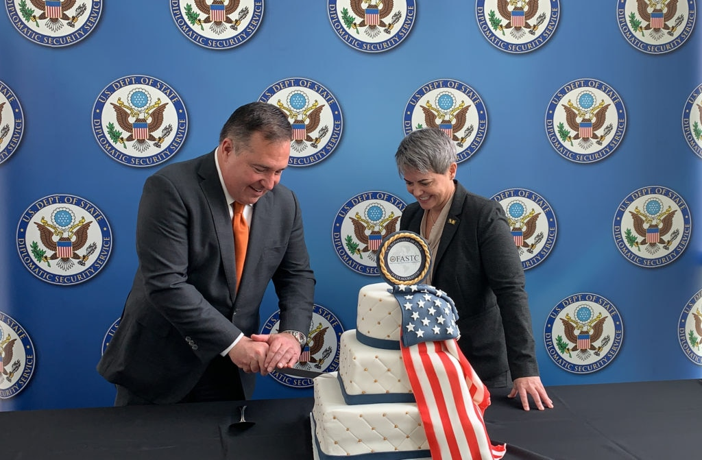 Assistant Secretary of State for Diplomatic Security Michael Evanoff cuts the cake following the opening ceremony of the Diplomatic Security Service's newest training facility the Foreign Affairs Security Training Center (FASTC) in Blackstone, Va, Nov. 14, 2019. (U.S. Department of State photo)