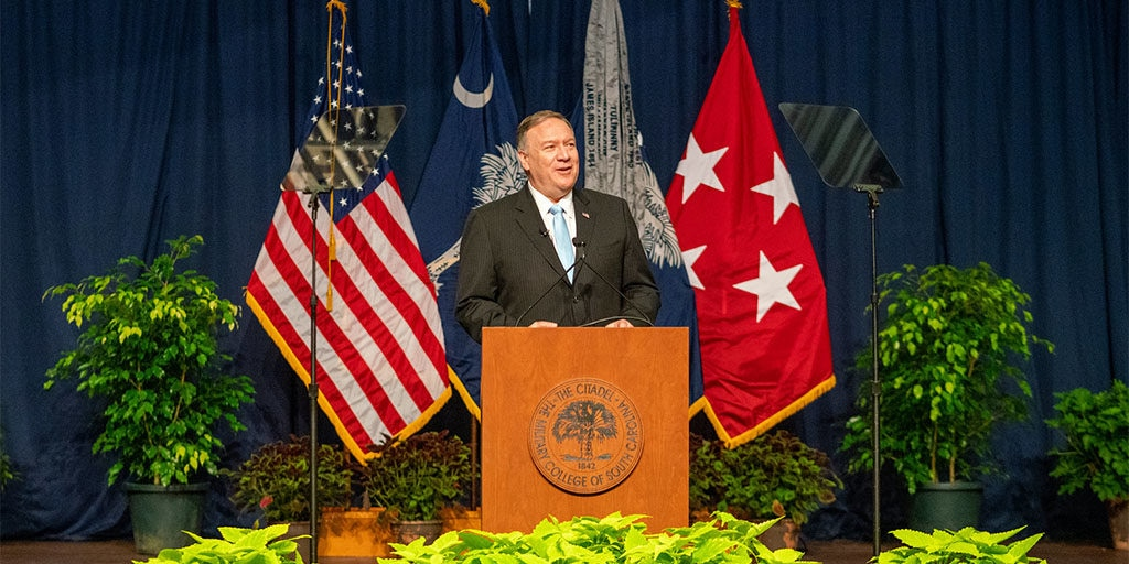 U.S. Secretary of State Michael R. Pompeo delivers remarks at The Citadel in Charleston, S.C. on November 11, 2019.